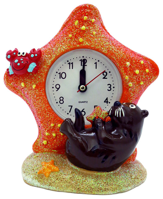 Whimsical Sea Otter Amp Starfish Alarm Clock Modern