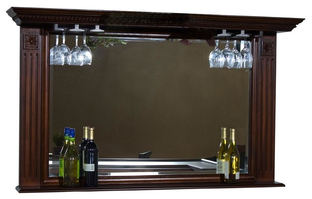 Napoli Back Bar Mirror w Stemware Holders - Contemporary - Indoor Pub And Bistro Tables - by ...