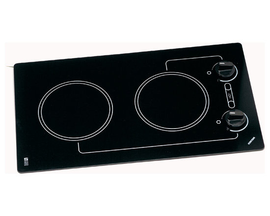 """Kenyon - Caribbean 2 Burner Cooktop, 240v - You don't have to go far to escape the busyness of everyday life and cook from your own private oasis with our Caribbean 2-Burner Electric Cooktop. Experience supreme cooking technology right on your countertop with the Caribbean's effortless navigation. During the engineering process we began by using clear black glass and then intentionally chose other materials that we thought would make it easier for you to clean. With a Caribbean, it's all blue skies and smooth sailing from here. (2) 1200W 6.5"""" burners. """"On"""" & """"Hot"""" indicator lights. Push to turn knob controls. ADA compliant. UL/C-UL approved."""