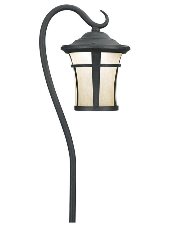 """Lamps Plus - Arts and Crafts - Mission Textured Black LED Carriage Landscape Light with Hook - Brighten outdoor walkways and create a safer and more pleasant atmosphere in a front or back yard. This LED landscape light features a carriage-like design. The LED lights make it ultra-efficient. Textured black finish. Frosted glass. Includes 1.5 watt LED light. 3000K color temperature. Light output is 127 lumens. Comparable to a 15 watt incandescent bulb. 23"""" high. 5"""" wide.  Textured black finish.   Mistlite glass.  Aluminum construction.  Includes 1.5 watt LED.  3000K color temperature.  Light output is 127 lumens.  Comparable to a 15 watt incandescent bulb.  Compatible with a 12 volt lighting system .  23"""" high.   5"""" wide."""