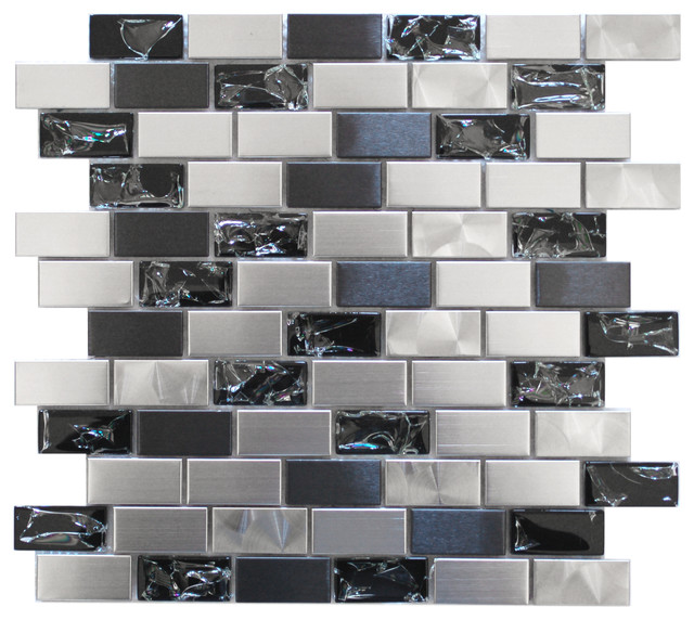 Sample Black Metallic Deco Insert Crackle Glass Mosaic: Stainless Steel And Crackled Glass Mosaic Mix, Sample
