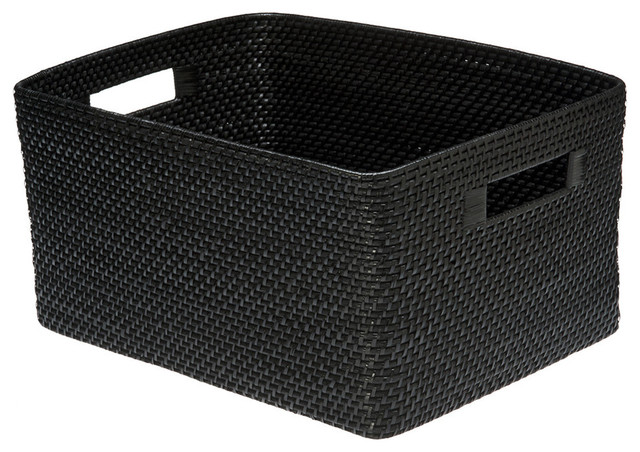 Rectangular Rattan Storage Basket, Black - Contemporary - Baskets ...