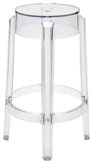 Klipper Clear Acrylic Modern Round Counter Stool Pair