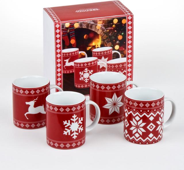 Set of 4 Mugs Christmas Time - Traditional - Mugs - by ...