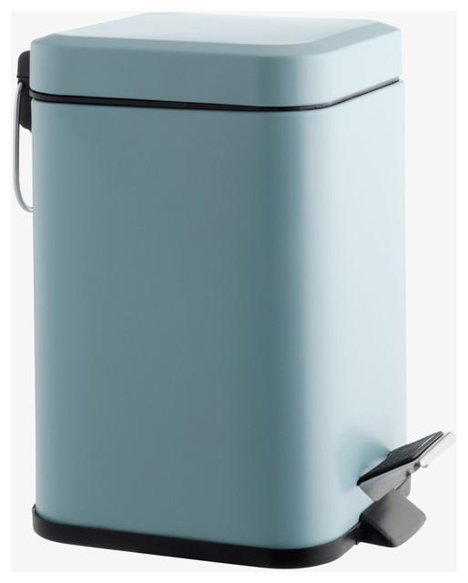 Poli Polyresin Sky Blue Stainless Steel Bathroom Bin 3l