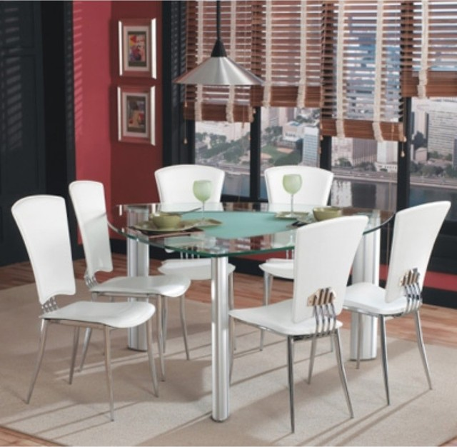 Chintaly Tracy White 7 piece Triangle Glass Top Dining  : contemporary dining sets from www.houzz.com size 640 x 626 jpeg 83kB