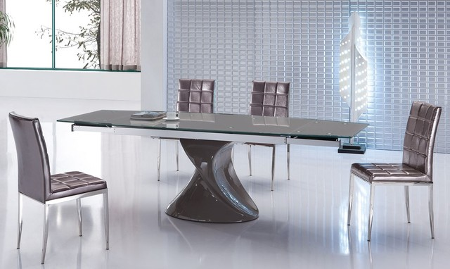 Extendable Glass Top Five Piece Modern Dining Contemporary Dining