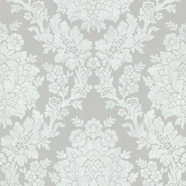 Liza Grey Roselle Damask Wallpaper. contemporary-wallpaper