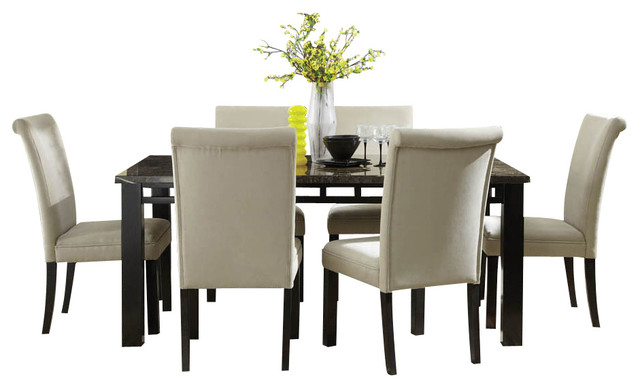 grey 7 piece dining room set with parsons chairs traditional dining
