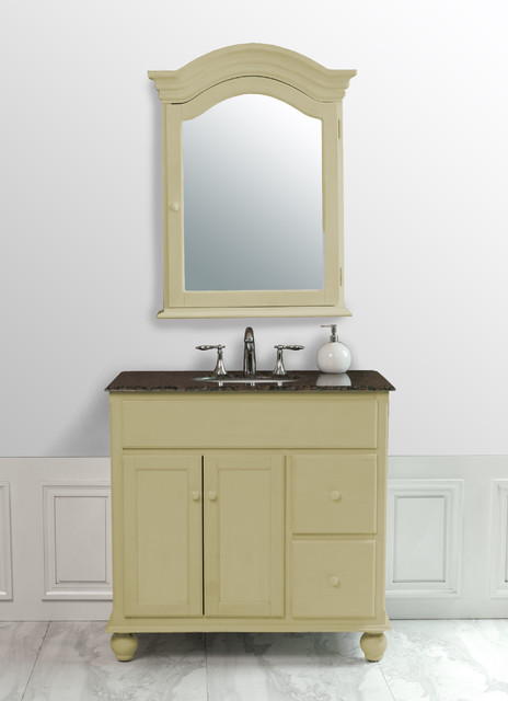 36 inch yellow cream single sink vanity with baltic brown - Farmhouse bathroom vanity mirror ...