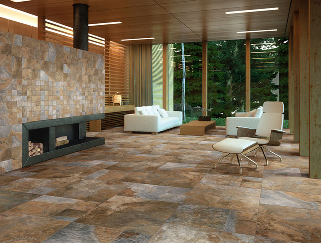 Sintesi newslate living room rustic wall and floor for Tiled living room floor designs