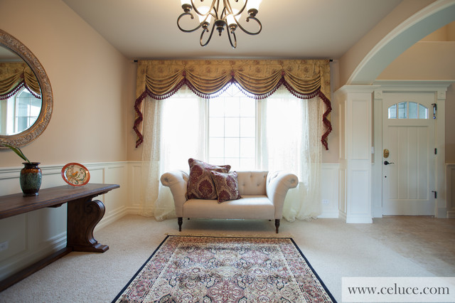 Designer valance curtains with swags and tails by celuce for Living room valances and swags