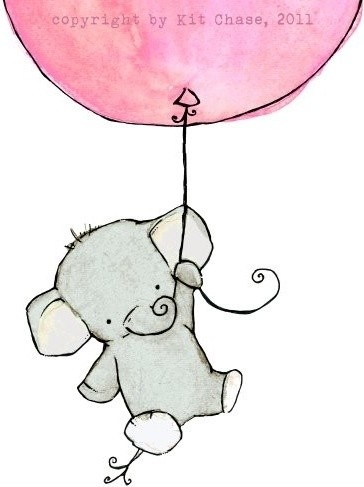 Nursery Art, Flying High Girlie Pink Balloon by Trafalgars Square modern nursery decor