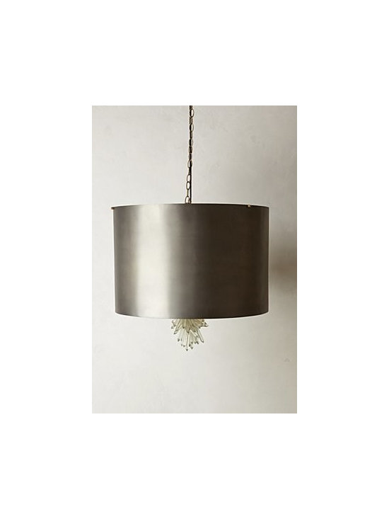 """Anthropologie - Dewdrop Chandelier - Includes ceiling plate. Hardwired for professional installation. Brass, glass. 150 watt max. 39"""" chain; 6.5' cord. 17.5""""H, 26"""" diameter. Imported"""