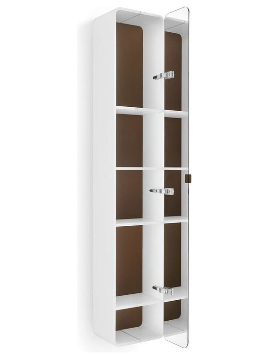 WS Bath Collections - 63.4 in. Bathroom Cabinet in White and Rust - Contemporary design. Four shelves. Mirrored door. Designer high end quality. Warranty: One year. Made from plywood and stainless steel. Made in Italy. 12 in. W x 8.1 in. D x 63.4 in. H (50 lbs.). Spec Sheet
