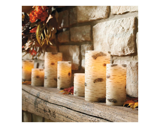 """Grandin Road - Faux Birch Battery Operated Candles - 4"""" dia. x 8""""H - Each pillar candle is crafted from real wax. Hand-applied faux-birch finish. Illuminates from within by a flickering LED. Built-in 4-, 6-, and 8-hour timer automatically turns on/off. Each requires four AA batteries (not included). Let our Flameless Faux Birch Candles light up your woodland-inspired tableau.  .  .  .  .  . One remote controls all candles together-remote sold separately . A Grandin Road exclusive."""