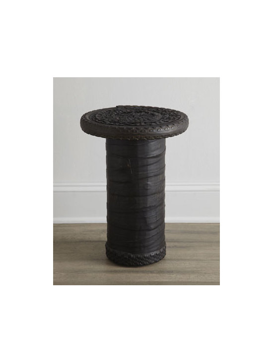 Horchow - Banner Side Table - A real conversation starter, this side table blends unexpected materials with traditional design for a look that is totally unique. Made of mango wood covered in recycled rubber. Due to the nature of recycled materials, each table will vary slightly.....
