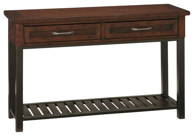Home Styles Cabin Creek Console Table in Chestnut Finish transitional-console-tables
