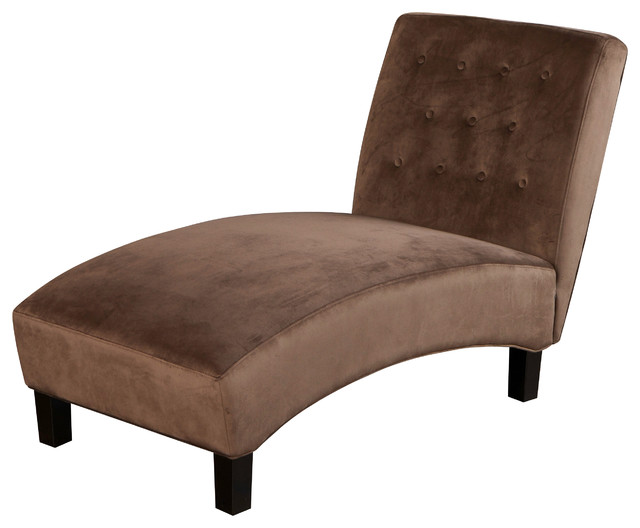 Sawyer chocolate brown tufted microfiber chaise lounge for Black microfiber chaise