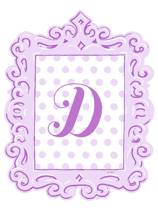Sherri Blum Framed Lavender Dotted Monogram Wall Decals by Oopsy Daisy -
