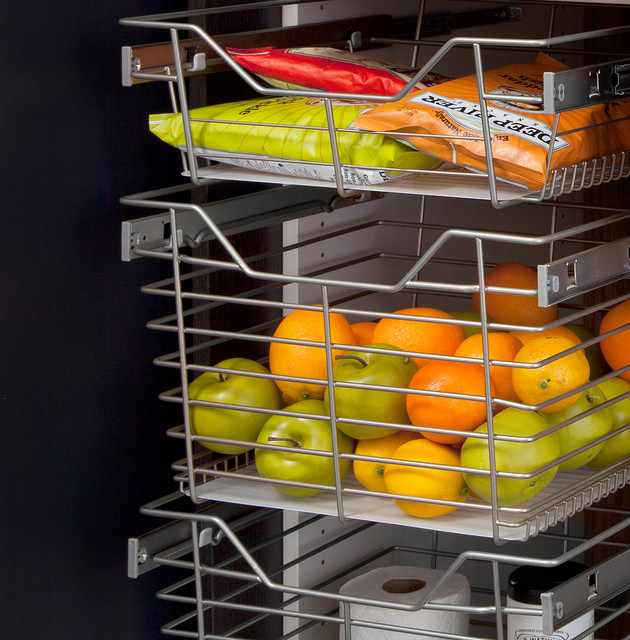 Pantry Sliding Chrome Baskets - Modern - Pantry Cabinets - other metro - by transFORM | The Art ...