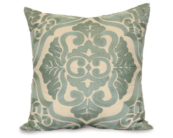 Kathy Kuo Home - Verdun Blue Ivory Square Hand Embroidered Pillow - Hand embroidered pillows in linen and silk are sumptuously oversized and generously filled with down and feathers - tossed on a bed or a gathered on a sofa, create a lasting personal touch.