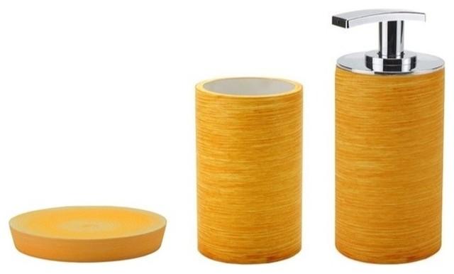 Modern 3 piece accessory set in orange contemporary for Orange bathroom accessories set