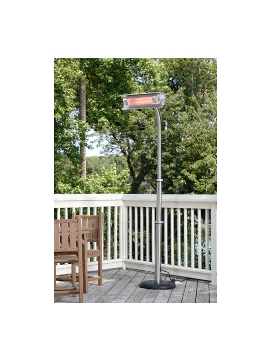 Fire Sense Stainless Steel Telescoping Offset Pole Mounted Infrared Patio Heater - Sleek and modern, the Fire Sense Stainless Steel Telescoping Offset Pole Mounted Infrared Patio Heater uses standard household electricity and can be used both indoors and outdoors. -Mantels Direct