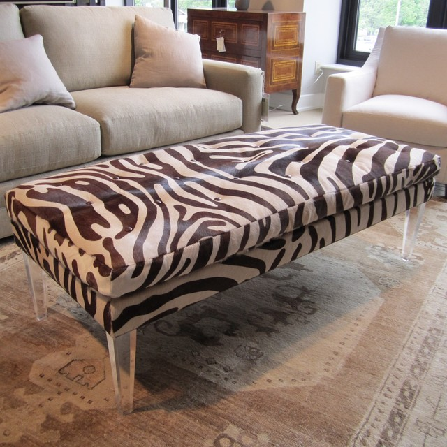 Bradley Ottoman In Zora Hide eclectic ottomans and cubes