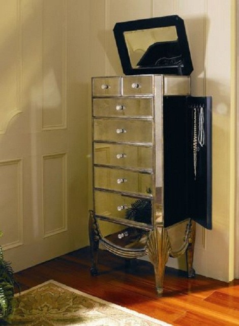 Bassett Mirror - Collette Mirrored Jewelry Armoire - T1267-927 - Traditional - Jewelry Armoires ...