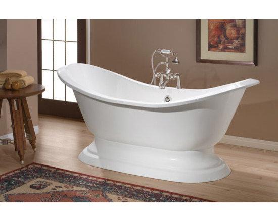Cheviot Regency Cast Iron Bathtub - Cast Iron Bathtub with Pedestal Base and Faucet Holes