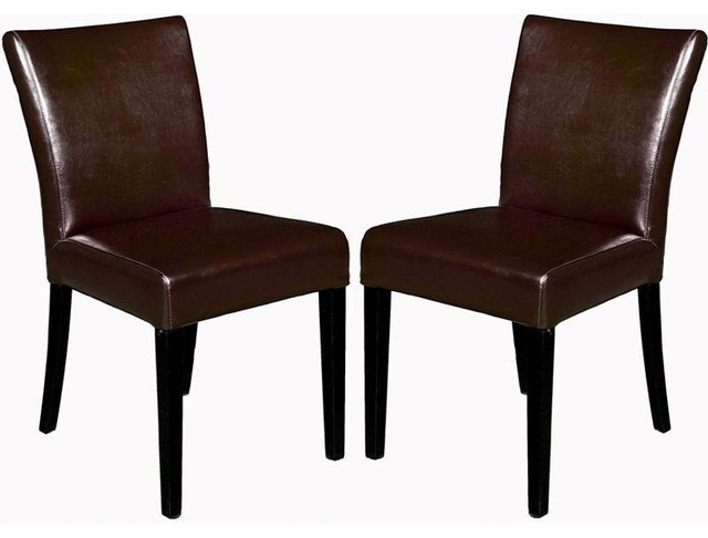 Wholesale interiors dark brown full leather arm less for Dining chairs for less