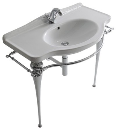 Chromed-brass under-basin structure 95cms with towel-rack - Ethos traditional-towel-racks-and-stands