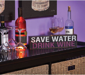 Save Water, Drink Wine Plaque contemporary-artwork