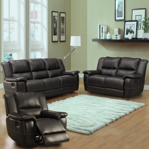 Cantrell bonded leather reclining 3 piece sofa set black for 3 piece black modern sectional sofa