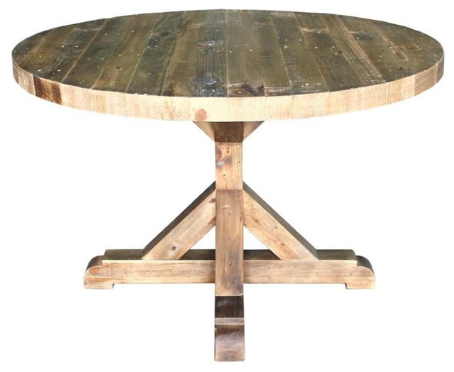 bavaria harvest reclaimed wood round dining table. Black Bedroom Furniture Sets. Home Design Ideas
