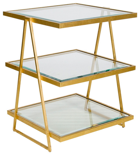 Worlds Away 3 Tier Square Gold Leaf Table With Beveled