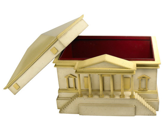 """Inviting Home - Palladio Decorative Box - Decorative box inspired by Roman and Greek architecture Overall dimensions: 15-3/4""""W x 11-1/8""""D x 12-1/2""""H This decorative box is inspired by Roman and Greek architecture Andrea Palladio went on to become the most influential architect in Western history. Living in Venice during the 16th C. Palladio left a large legacy of villas and palaces in Northern Italy. Enjoy our whimsical scaled down version of a country mansion as drawn by the Renaissance master. Lift the roof and store documents jewelry Cuban cigars."""