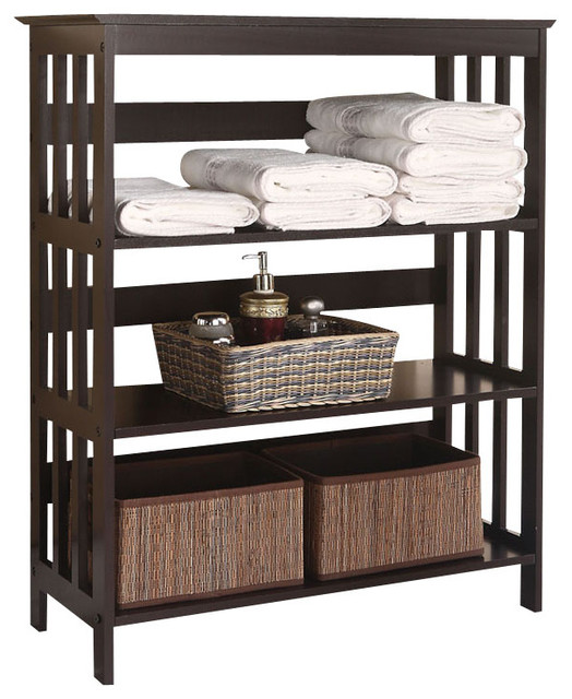 Free-Standing Espresso Wooden 3-Tier Storage Bathroom Shelf - Contemporary - Bathroom Cabinets ...