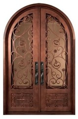 Fero Fiore 1 Lite Heavy Bronze Decorative Wrought Iron Entry Door-IFF6482RRHT at