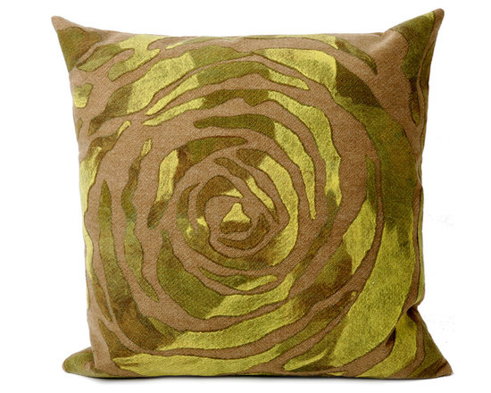 """Trans-Ocean Outdoor Pillows - Trans-Ocean Liora Manne Rose Green - 20"""" x 20"""" - Designer Liora Manne's newest line of toss pillows are made using a unique, patented Lamontage process combining handmade artistry with high tech processing. The 100% polyester microfibers are intricately structured by hand and then mechanically interlocked by needle-punching to create non-woven textiles that resemble felt. The 100% polyester microfiber results in an extra-soft hand with unsurpassed durability."""