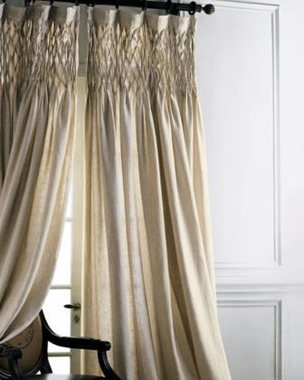 Smocked Linen Curtain traditional curtains