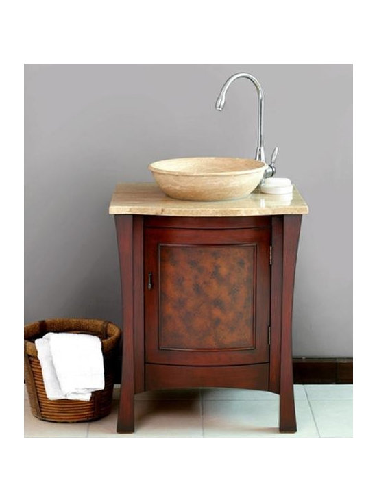 """Virtu USA 26"""" Duiberg - Antique Cherry - Travertine Single Sink Bathroom Vanity - The Duiberg bathroom vanity is elegantly designed for small bath or powder room. It features a hand finished door, which opens to reveal a shelf and storage. This vanity comes with a beautiful travertine vessel that rests above the counter top. The cabinet frame is made from solid birch and wood composite panels. http://www.tatarishop.com"""