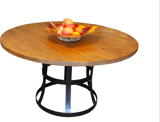 Round Detroit Dining Table in Reclaimed Wood and Distressed Metal