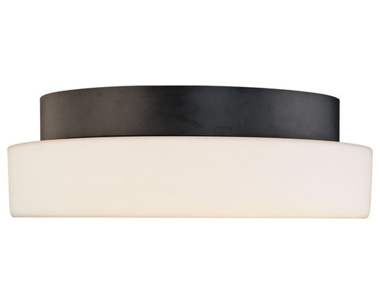 """Sonneman - Sonneman Pan 14"""" Surface Ceiling Light Fixture - Soothing white is framed with a touch of black in this Sonneman lighting design. Try this at home or at your office. Satin black finish. White opal frosted glass. Takes three 60 watt medium base bulbs (not included). 4 1/2"""" high. 14"""" diameter. Shade is 2 1/2"""" high 14"""" diameter. Canopy has 8"""" diameter.  Satin black finish.  White opal frosted glass.  Takes three 60 watt medium base bulbs (not included).  4 1/2"""" high.  14"""" diameter.  Canopy has 8"""" diameter."""