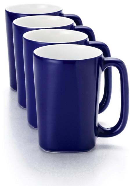 Rachael Ray Blue Raspberry Round and Square 4-Piece 14-ounce Dinnerware Mug Set - Contemporary ...