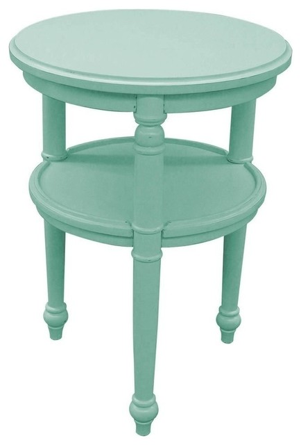 New Side Table Light Blue Painted Hardwood Round