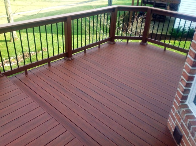 Timbertech Pacific Rosewood Decking with Timbertech BuildeRail Redwood - other metro - by Teter ...