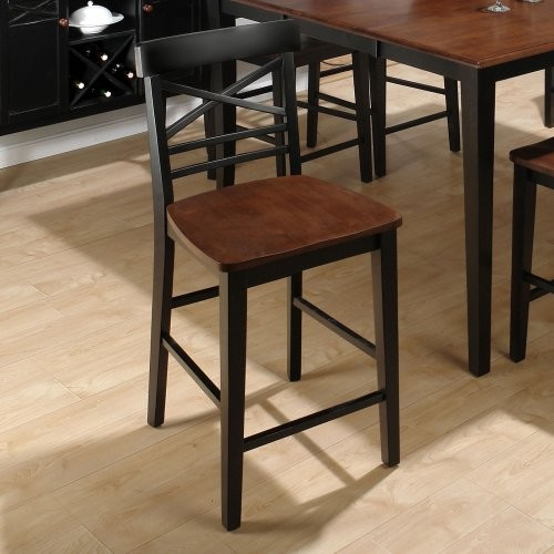 Stratford X-Back Counter Height Chairs - Black - Set of 2 contemporary-bar-stools-and-counter-stools