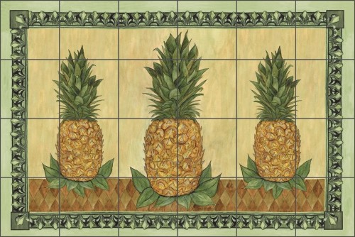 Mullen Pineapple Fruit Ceramic Tile Mural Backsplash 25 5